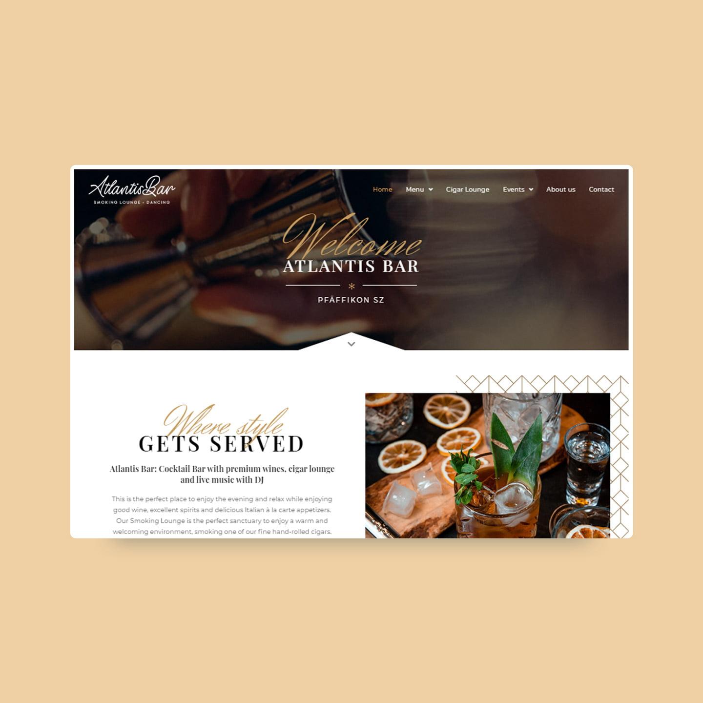 Atlantis Bar neue Website design web agentur AJ management Services AG
