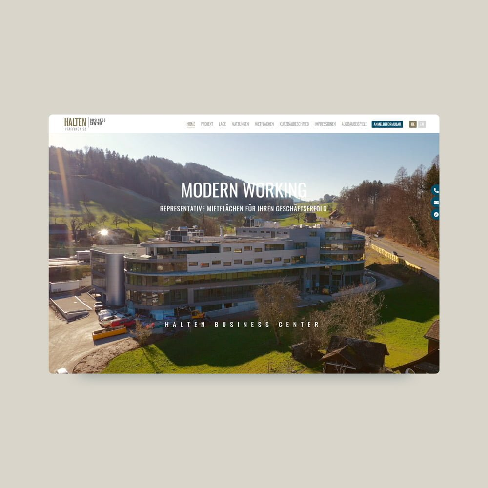 Halten Business center web layout | AJMS Marketing Agentur