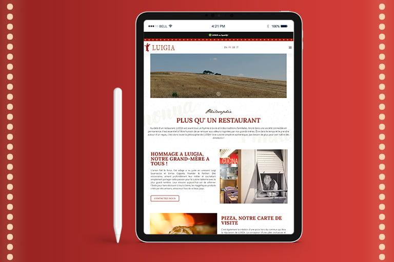 luigia restaurant website neugestaltung ajms